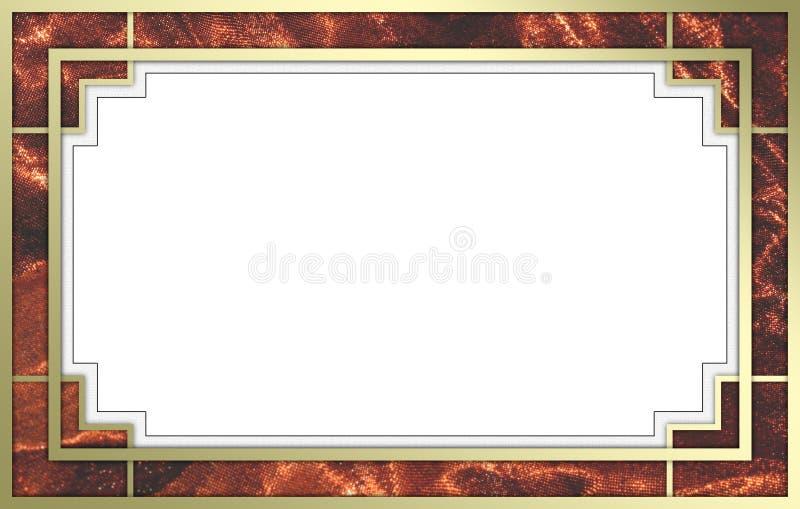 Oro operato e cornice rossa fotografia stock libera da diritti
