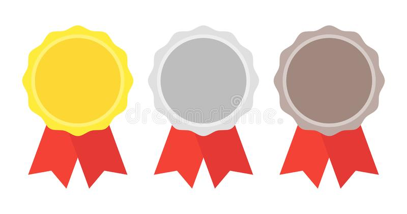 Oro, plata, medalla de bronce 1ros, 2dos y 3ro lugares Trofeo con la cinta roja Ejemplo plano del vector del estilo ilustración del vector