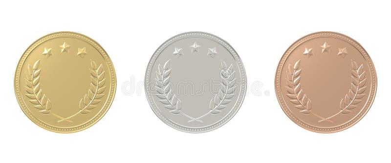 Oro, plata, medallas de bronce fijadas imagen de archivo
