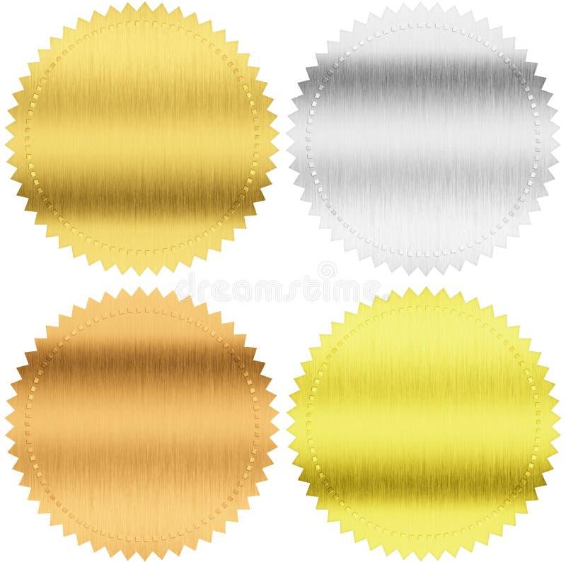 Oro, plata y sellos o medallas del bronce con la trayectoria de recortes stock de ilustración