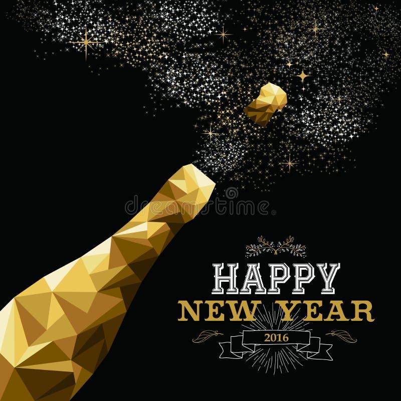 Oro polivinílico bajo 2016 de la botella del champán de la Feliz Año Nuevo stock de ilustración