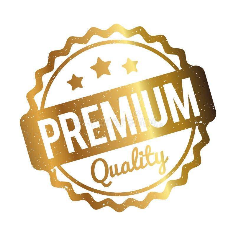 Oro premio del timbro di gomma di qualità su un fondo bianco illustrazione di stock