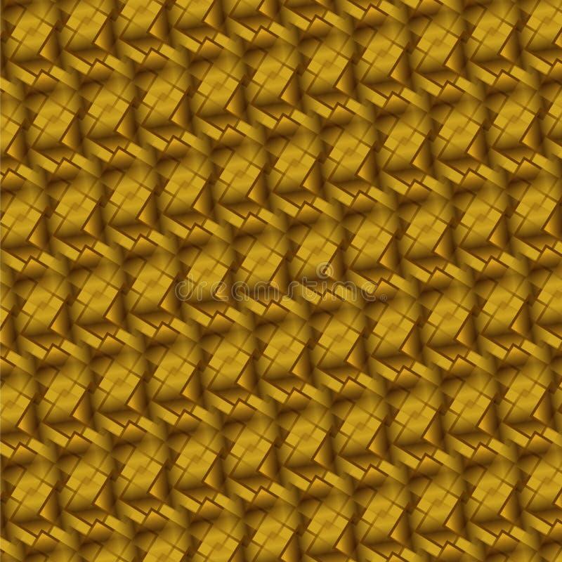 Oro profundo y fondo elegante marrón de Rhombus y de cuadrados en el aspecto 3D libre illustration