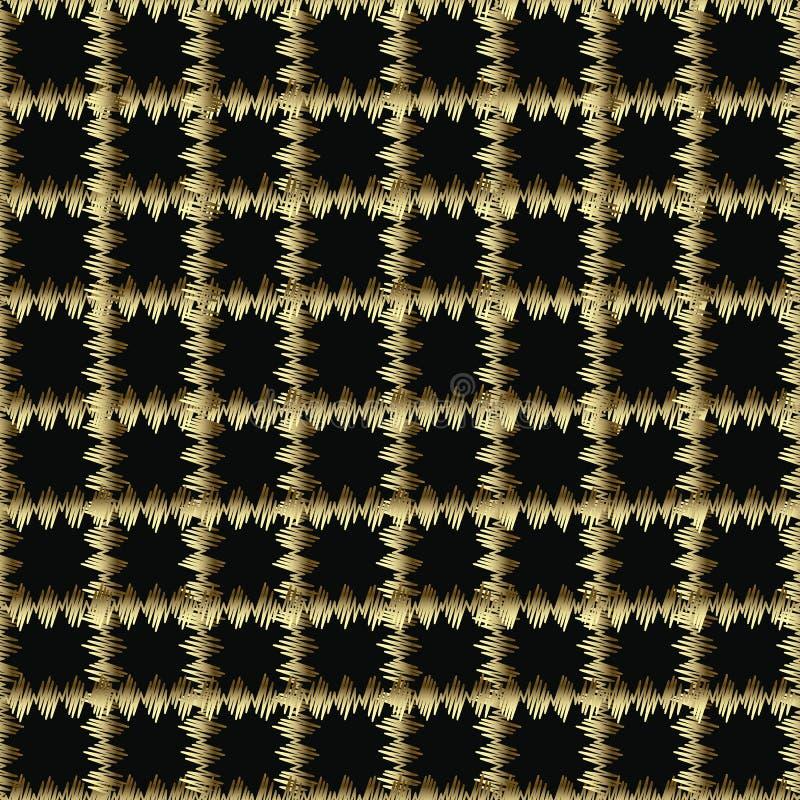 Oro a quadretti e modello senza cuciture di vettore nero di lerciume 3d Fondo decorato del controllo del ricamo Ripeti il plaid d illustrazione di stock