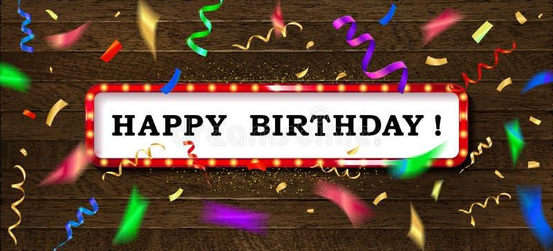 Oro que pone letras a feliz cumpleaños stock de ilustración