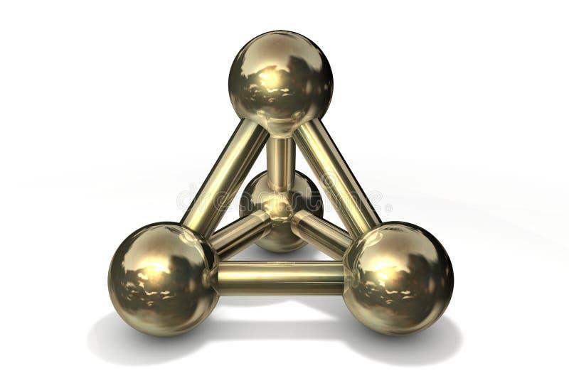 Oro/rame della struttura della molecola illustrazione di stock