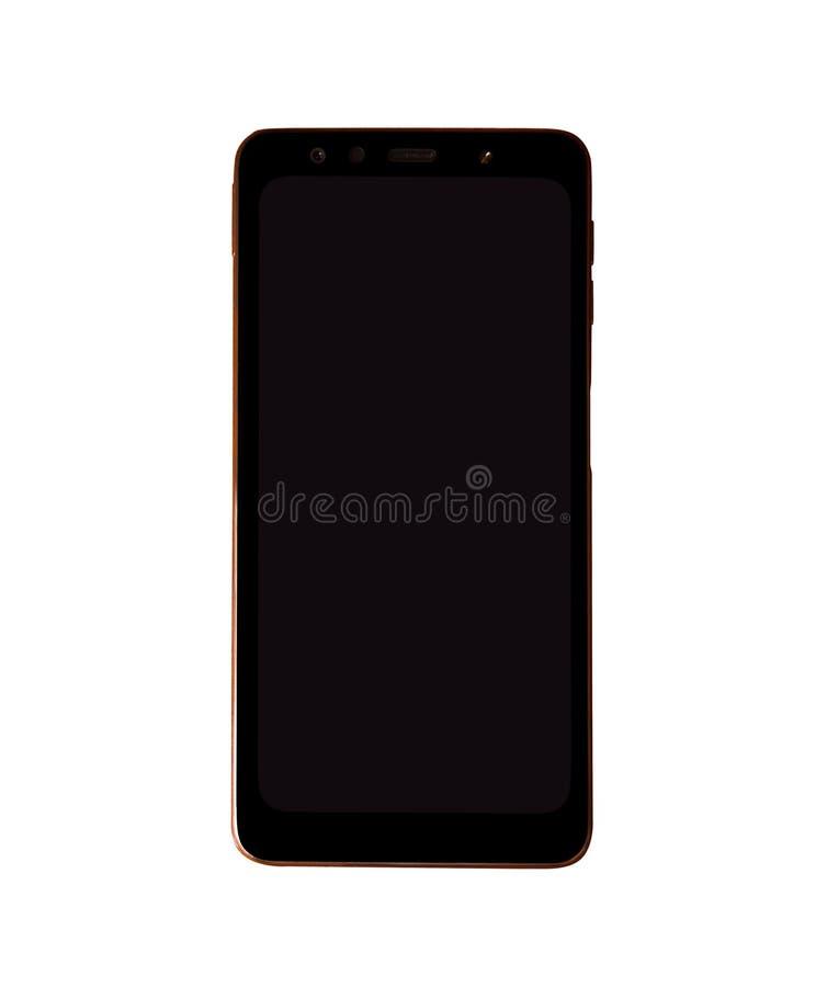 Oro realistico Smartphone con lo schermo trasparente isolato su fondo bianco immagine stock libera da diritti