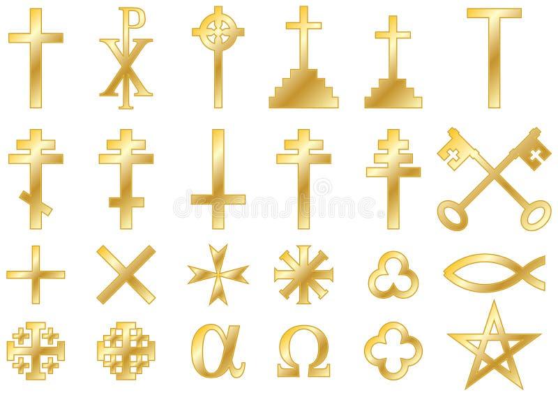 Oro religioso cristiano de los símbolos ilustración del vector