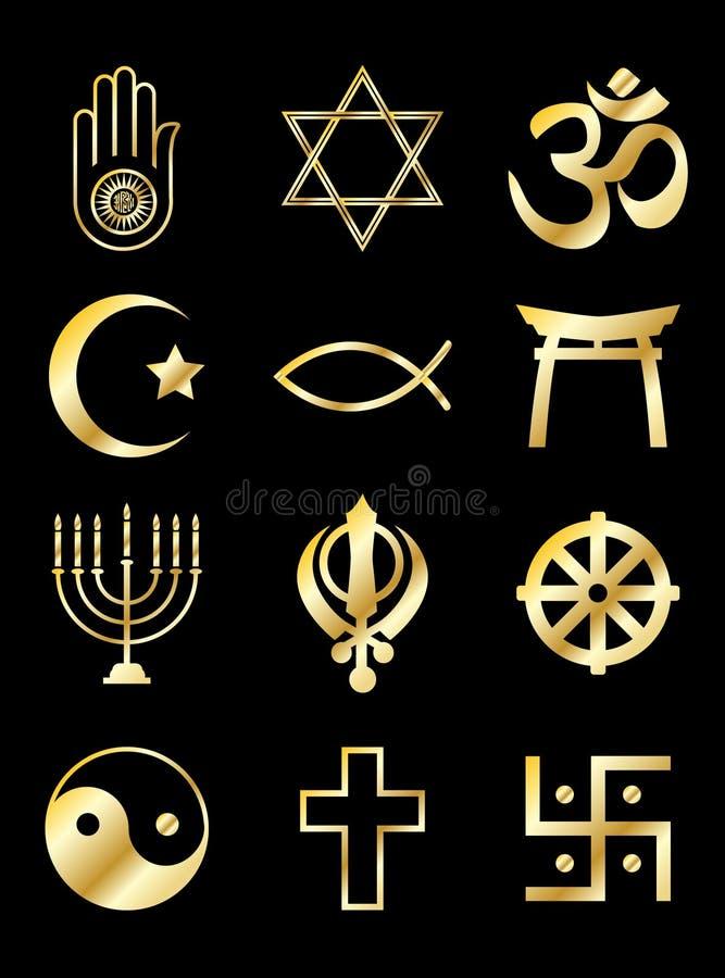 Oro religioso de los símbolos en negro stock de ilustración