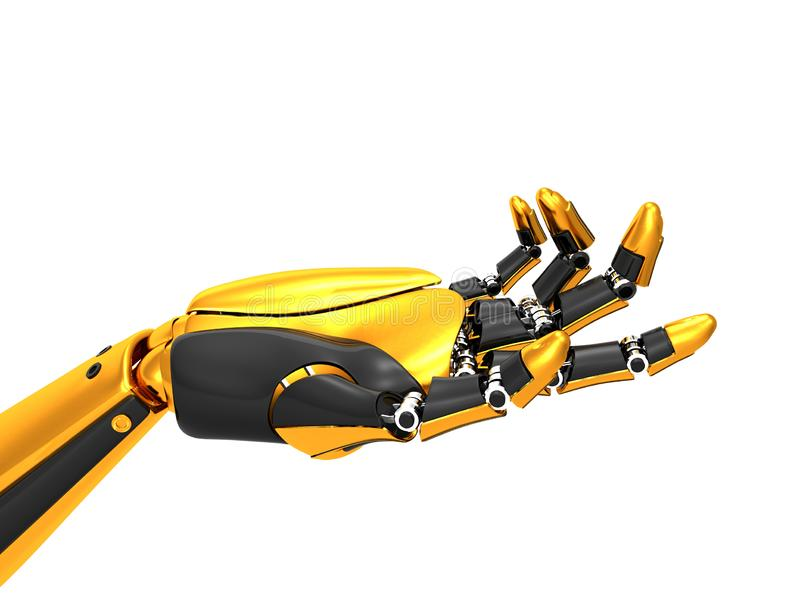 Oro robótico de la mano y color negro ilustración del vector