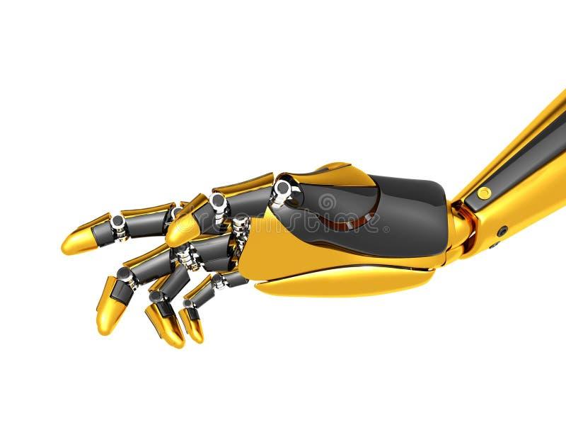 Oro robótico de la mano y color negro foto de archivo