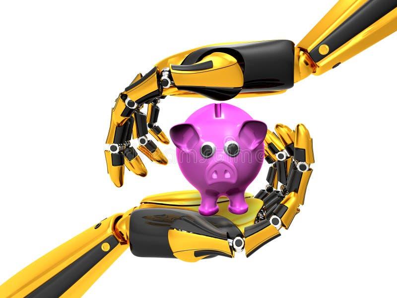 Oro robot della mano e colore nero illustrazione di stock