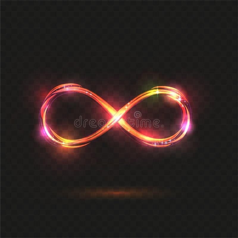 Oro, rosa y símbolo brillante anaranjado del infinito Muestra brillante transparente Ilustraci?n del vector ilustración del vector