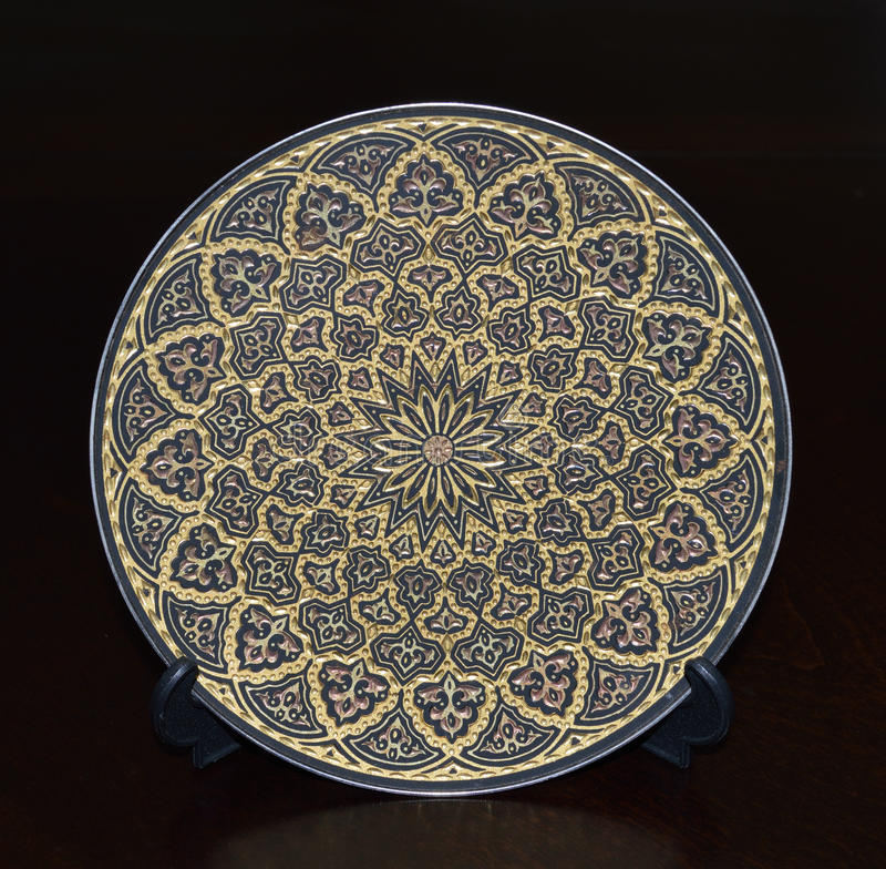 Oro Sapphire Circular Plate fotografía de archivo libre de regalías