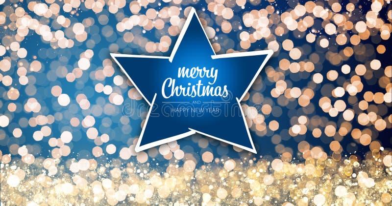 Oro scintillante e luci d'argento di natale con ornamento della stella del messaggio di saluto del buon anno e di Buon Natale su  fotografie stock