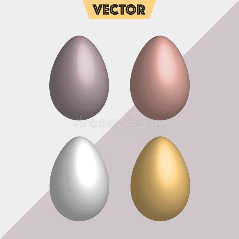 Oro simple en colores pastel, huevos de Pascua de plata del vector 3D foto de archivo libre de regalías
