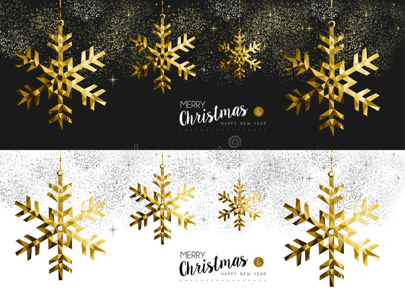 Oro social de la bandera del Año Nuevo de la Feliz Navidad medios ilustración del vector
