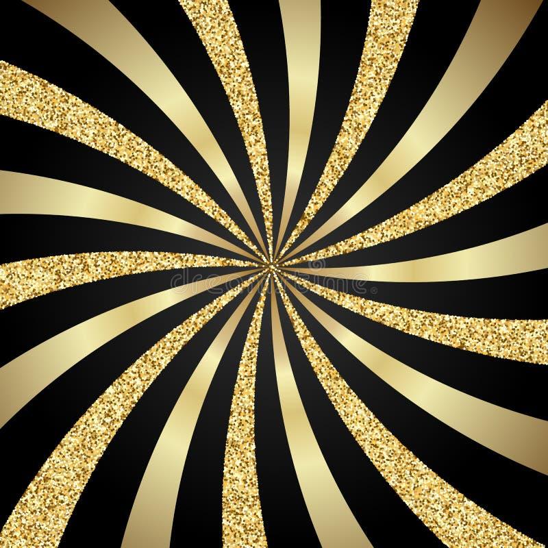 Oro a strisce e scintillio del fondo illustrazione di stock