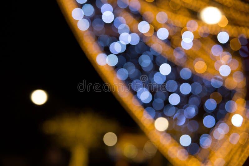 Oro vago e struttura blu del bokeh fotografia stock libera da diritti
