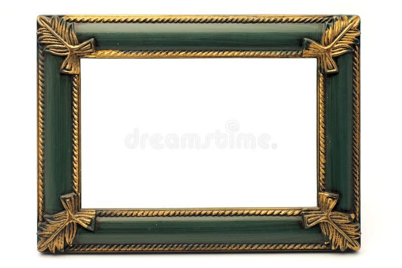 Oro viejo del renacimiento retro y marco verde foto de archivo