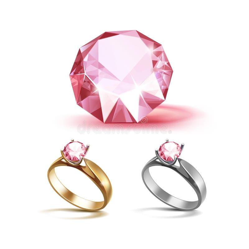 Oro y anillos de compromiso de Siver con el diamante claro brillante rosado stock de ilustración