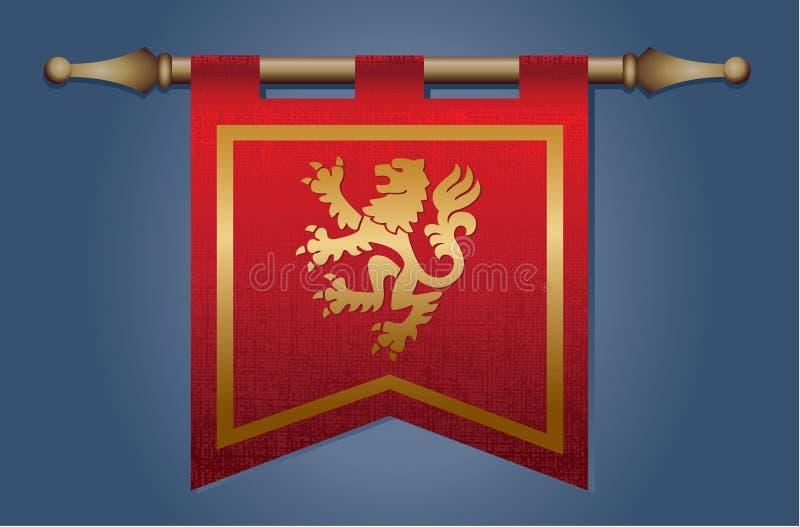 Bandera medieval con el emblema del dragón libre illustration