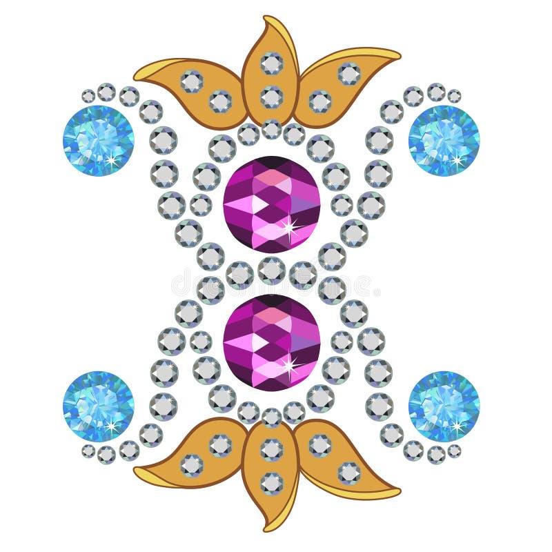 Oro y broche de las piedras preciosas libre illustration
