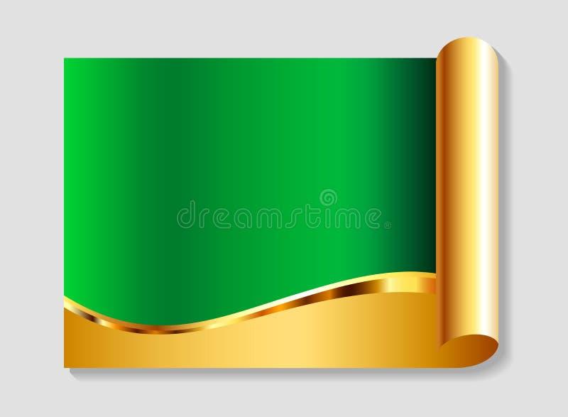 Oro y fondo abstracto del verde stock de ilustración