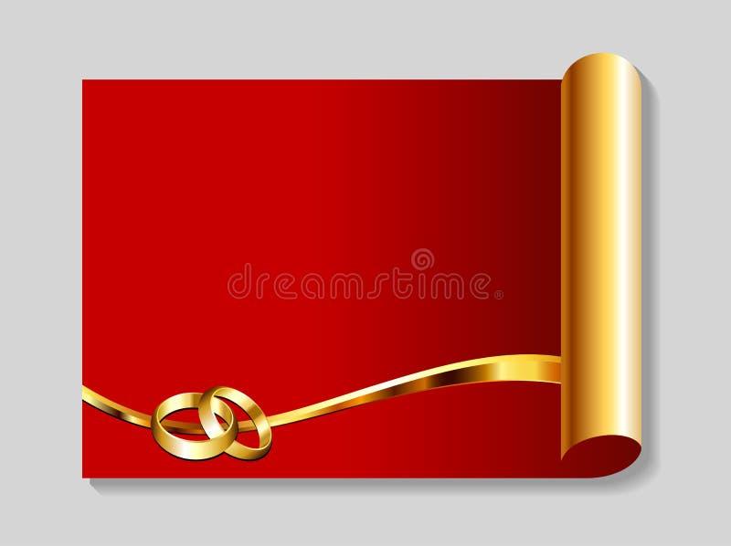 Oro y fondo rojo del extracto de la boda