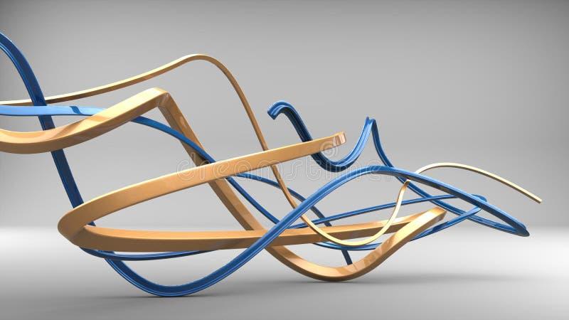Oro y formas azules del extracto del arte moderno libre illustration