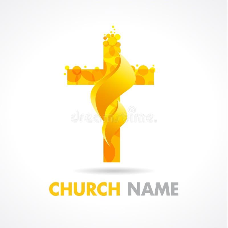 Oro y fuego del logotipo de la iglesia stock de ilustración