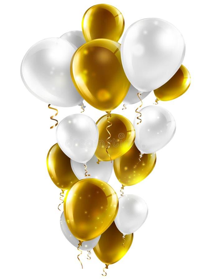 Oro y globos blancos ilustración del vector