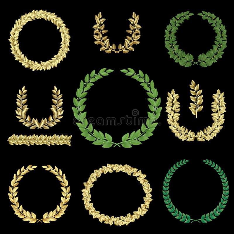 Oro y guirnaldas verdes fijados stock de ilustración