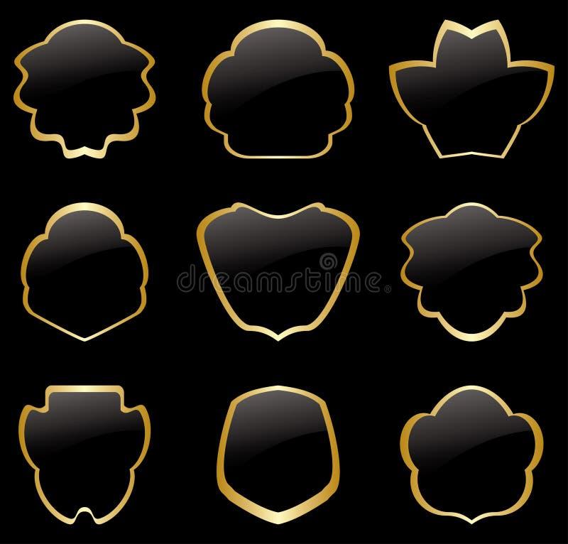 Oro y marcos negros del vintage - sistema ilustración del vector
