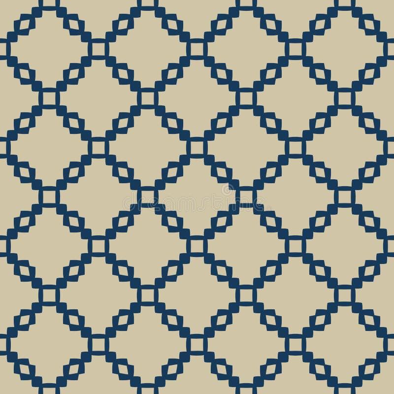 Oro y modelo inconsútil geométrico azul con rejilla, cadenas, red, enrejado del vector stock de ilustración