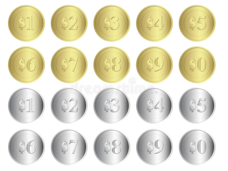 Oro y monedas de plata stock de ilustración