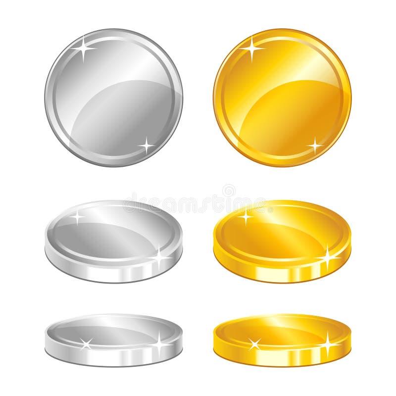 Oro y monedas de plata en diversas posiciones respecto al fondo blanco stock de ilustración