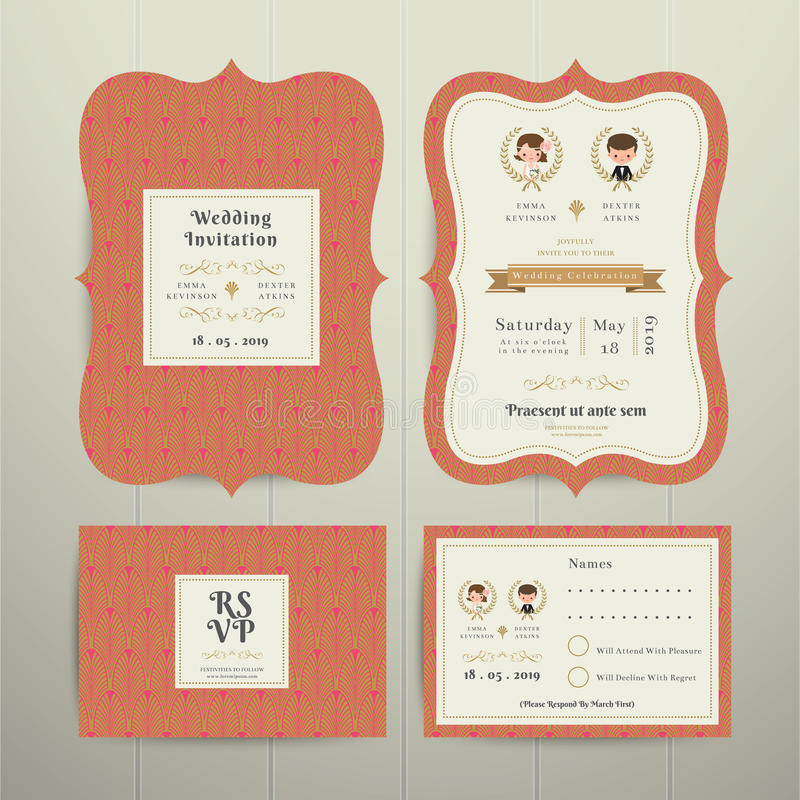 Oro y naranja determinados de RSVP de la tarjeta de la invitación de Art Deco Cartoon Couple Wedding ilustración del vector