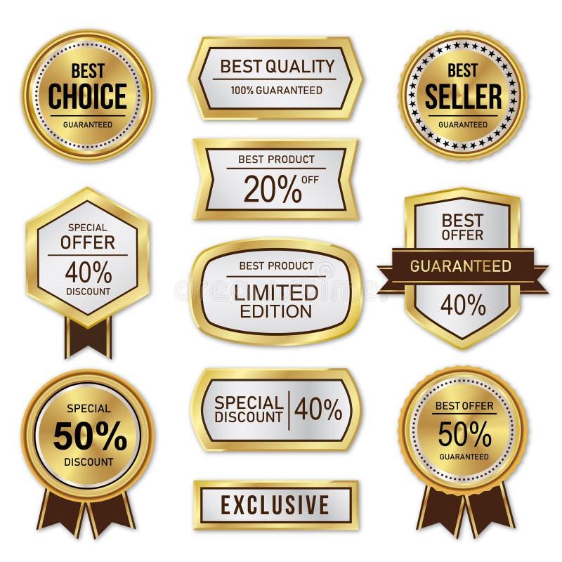 Oro y plata de la etiqueta de la venta y del descuento libre illustration