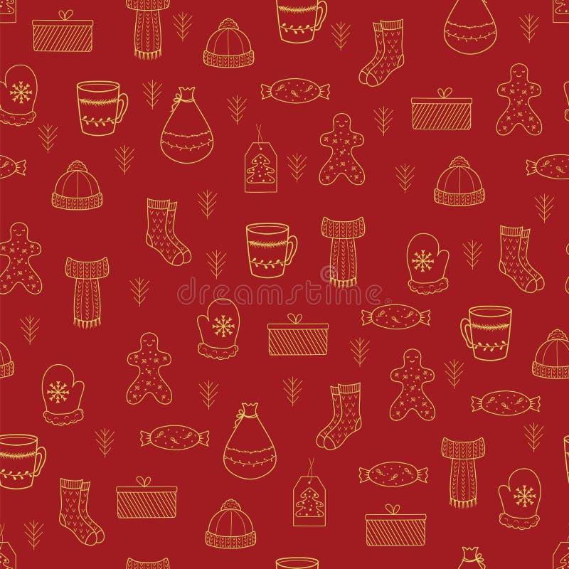 Oro y re del garabato de la Feliz Navidad exhausta de la mano y de la Feliz Año Nuevo libre illustration