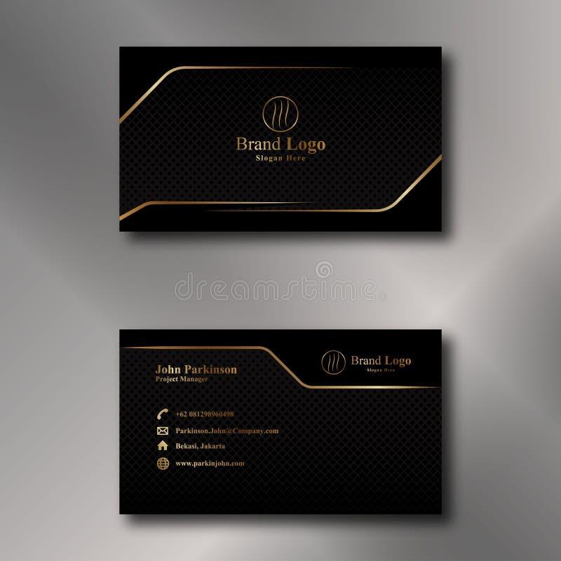 Oro y vector negro de la tarjeta de visita foto de archivo