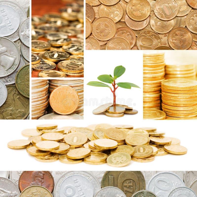 Oro y viejo concepto del dinero de las monedas foto de archivo libre de regalías