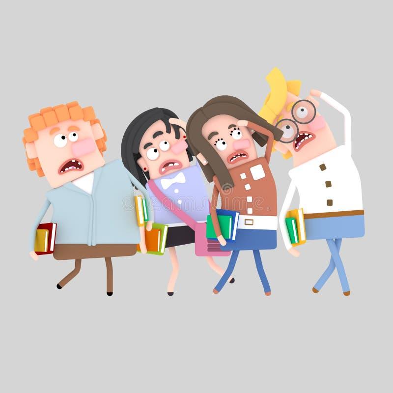 Oroad grupp av studenter som ser royaltyfri illustrationer