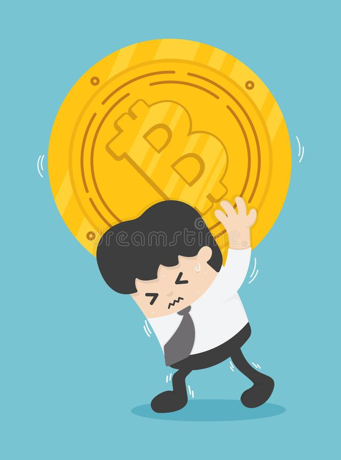 Orolig marknad för anställdBitcoin konkurs, svårigheter i wen vektor illustrationer