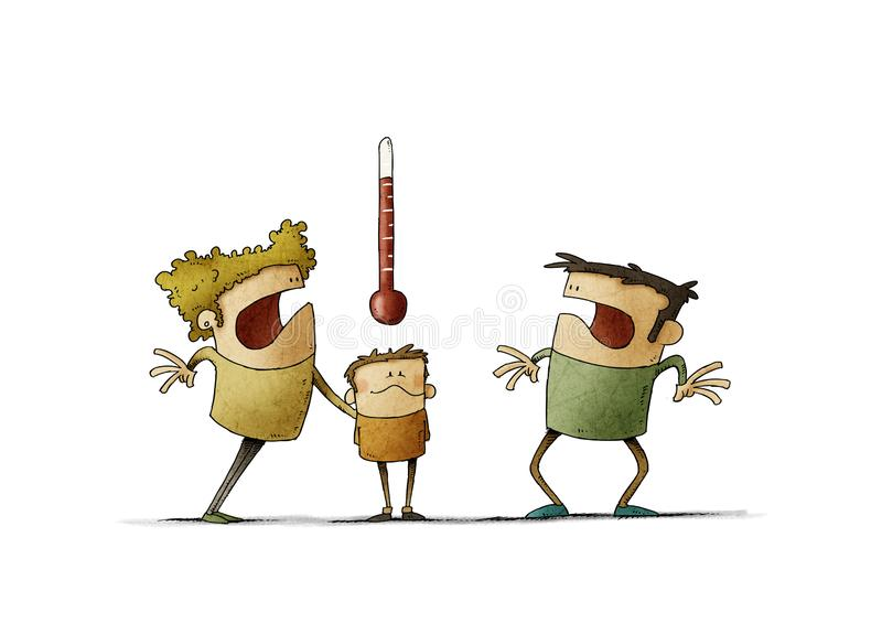 Oroliga föräldrar tittar på termometern på det sjuka barnet Feber-begrepp isolerad royaltyfri fotografi