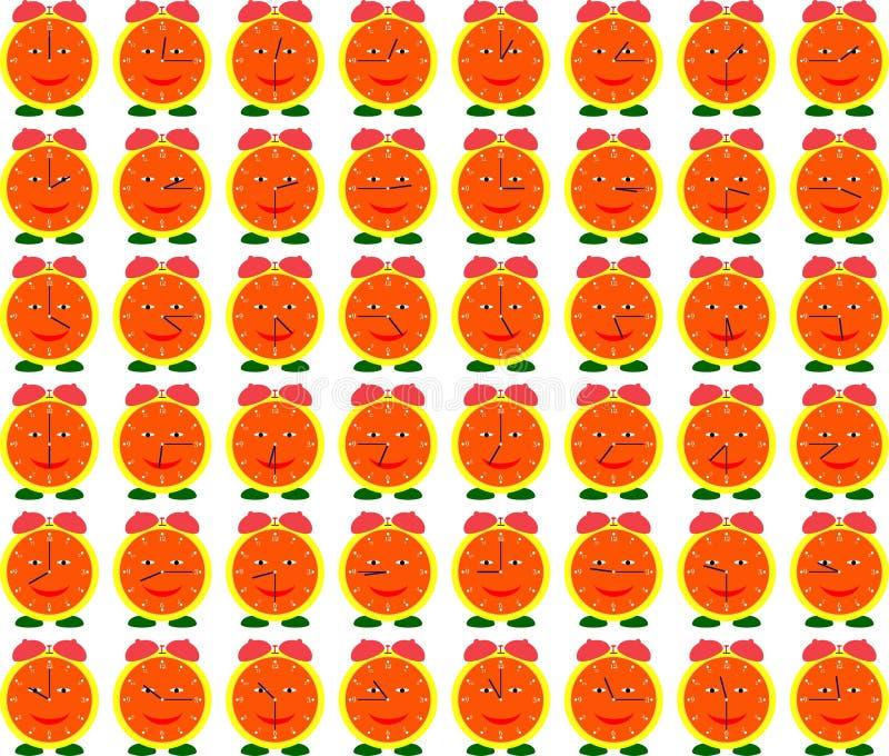 Orologi Analog sorridenti che mostrano tempo illustrazione vettoriale