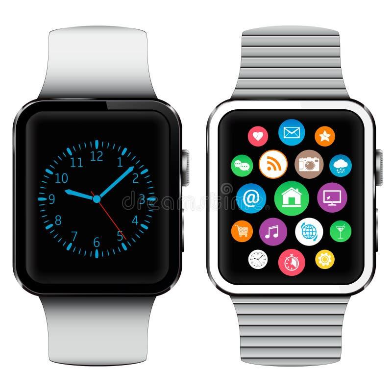 Orologi astuti moderni con le icone di applicazioni sullo schermo illustrazione di stock