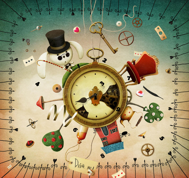 Orologi con gli oggetti favolosi illustrazione vettoriale