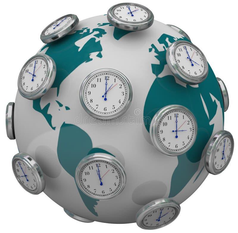 Orologi internazionali delle fasce orarie intorno al viaggio globale del mondo illustrazione vettoriale