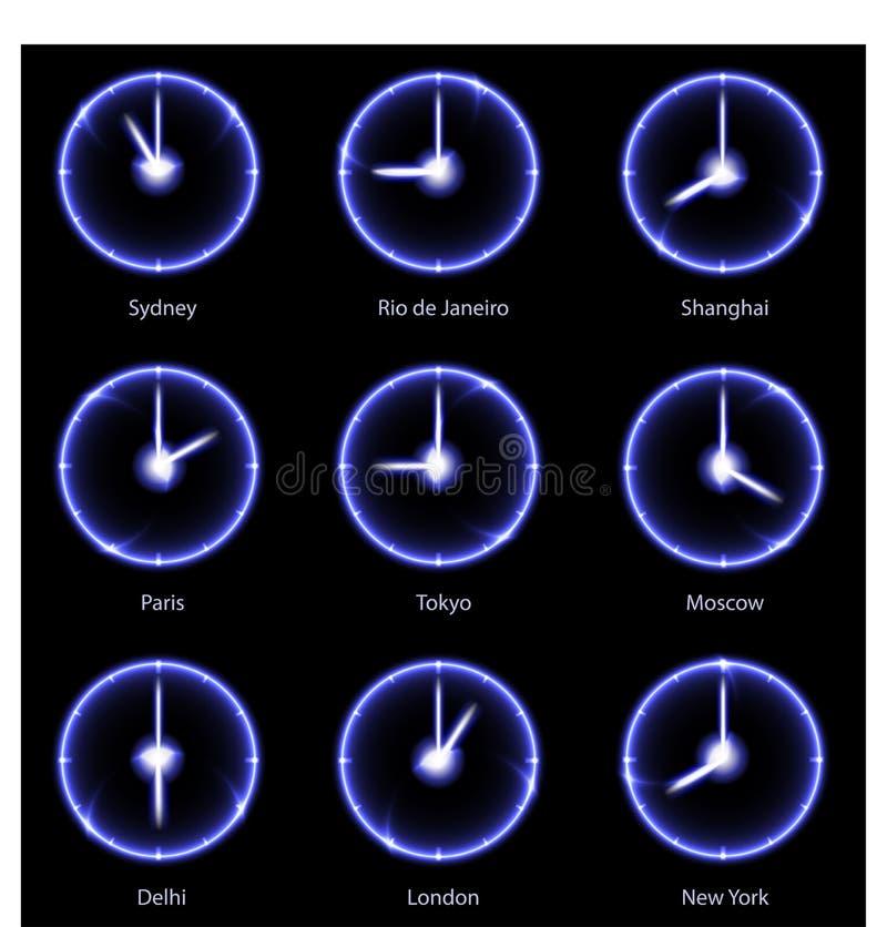 Orologi moderni delle fascie orarie di vettore royalty illustrazione gratis